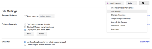 Google Webmaster Tools Site Setting